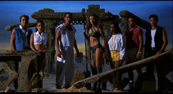 Gabrielle Fitzpatrick as Dulcea with a group of Power Rangers